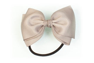 Medium Bow Ponytail Holder - Grey