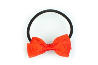 Pair of Small Bows Ponytail Holders - Red