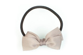 Pair of Small Bows Ponytail Holders - Grey
