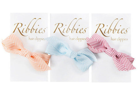 Set of 3 Thin Chevron Bow Hairclips - A