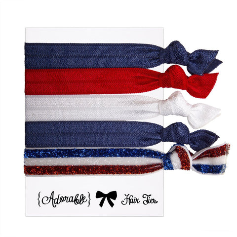 Set of 5 Hair Ties - Blue White Red