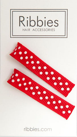 Pair of Small Dots on Red Hairclips