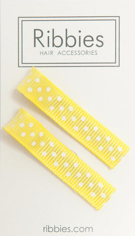 Pair of Small Dots on Yellow Hairclips