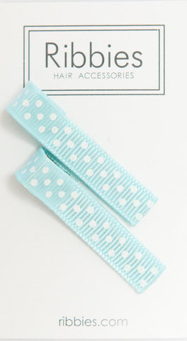 Pair of Small Dots on Pastel Blue Hairclips