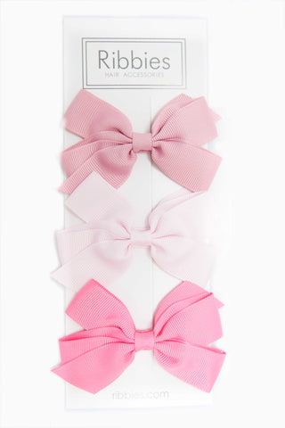 Set of 3 Medium Bows - Light Pink