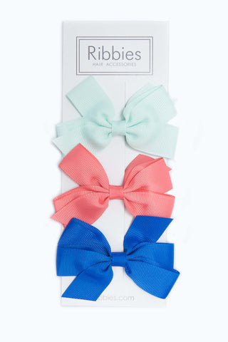Set of 3 Medium Bows - Watermelon & Blue