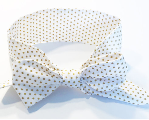 Cotton Fabric Bow Headwrap - White with Gold Dots