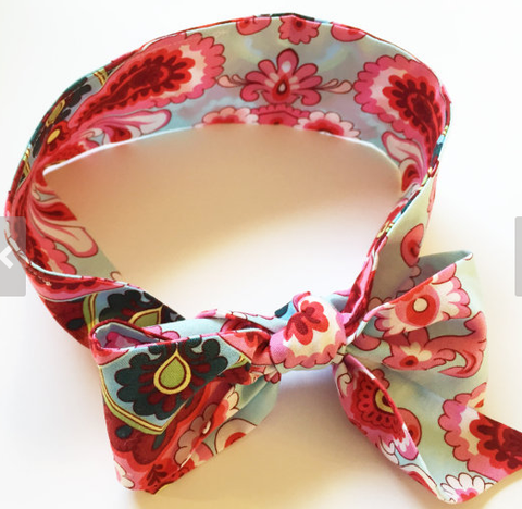 Cotton Fabric Bow Headwrap with Flowers