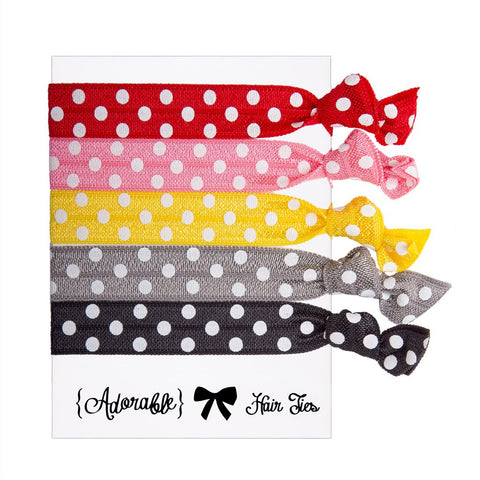 Set of 5 Hair Ties - Polka Dot