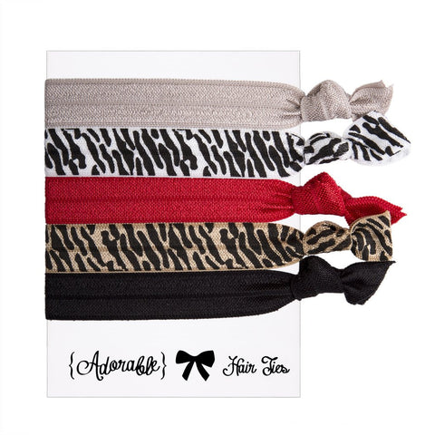 Set of 5 Hair Ties - Zebra