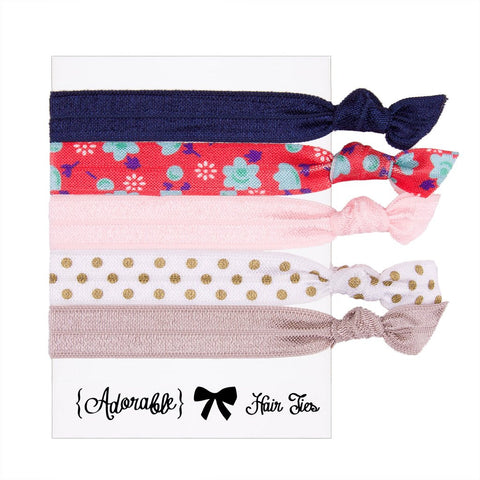 Set of 5 Hair Ties - Cherry