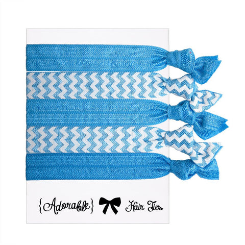 Set of 5 Hair Ties - Blue Chevrons