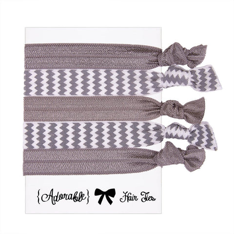 Set of 5 Hair Ties - Silver Chevron
