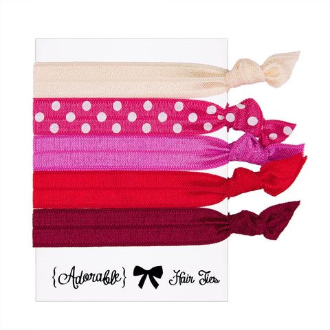 Set of 5 Hair Ties - Pink & Red