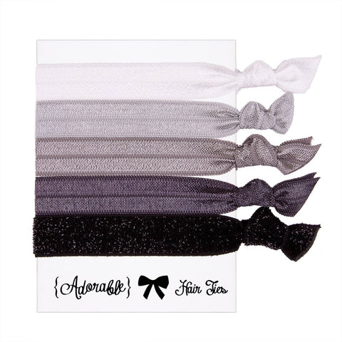 Set of 5 Hair Ties - Grey & Black