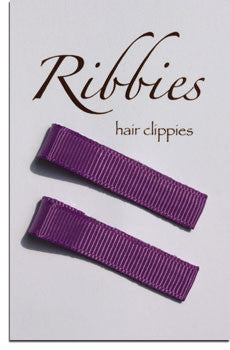 Pair of Plain Purple Hairclips