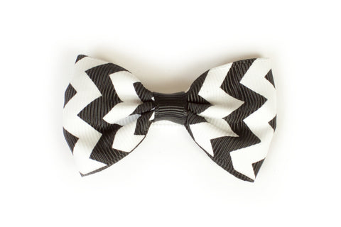 Large Chevron Bow Hairclip Black