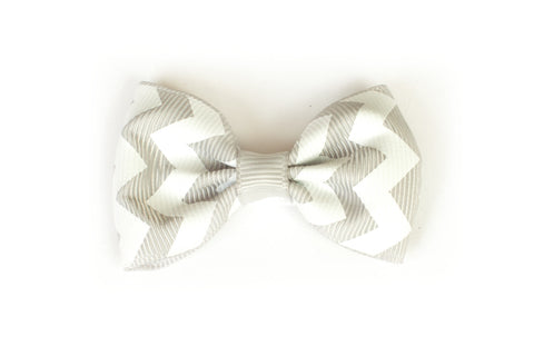 Large Chevron Bow Hairclip Grey