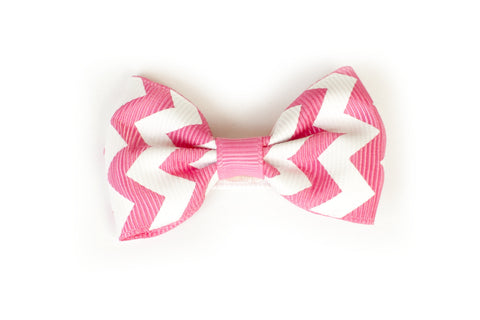 Large Chevron Bow Hairclip Pink