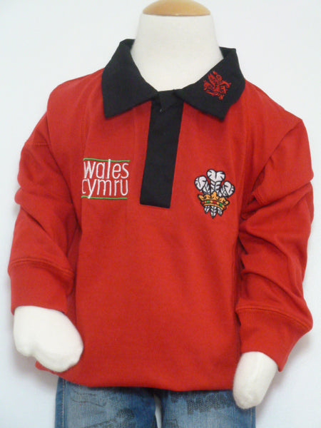 Dydd Gwyl Dewi Rugby Jumper with Black Collar St Davids Day