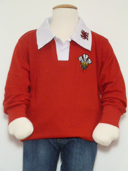Dydd Gwyl Dewi Rugby Jumper with White Collar St Davids Day