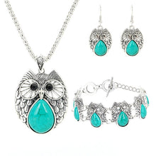 Load image into Gallery viewer, Retro Turquoise Owl Jewelry Sets 925 Silver Pendant Earring Bracelet Necklace Fashion Chain Handmade Amulet Gifts for Her Woman - Feminarum Jewelry