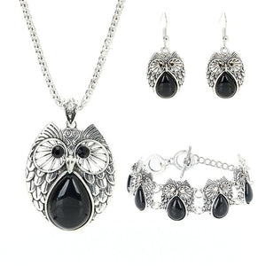 Retro Turquoise Owl Jewelry Sets 925 Silver Pendant Earring Bracelet Necklace Fashion Chain Handmade Amulet Gifts for Her Woman - Feminarum Jewelry