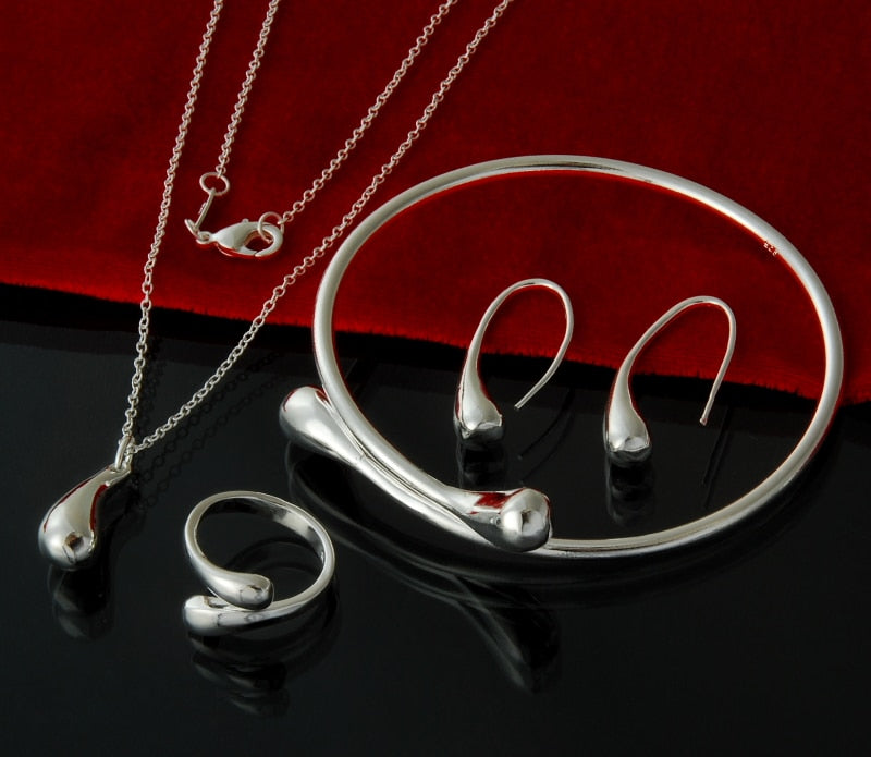 Silver  Water Drops Set - Feminarum Jewelry