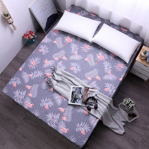 Dreamworld Flamingos Printing Bed Sheet Lovely Bear Fitted Sheet with Elastic for Child Polyester Brushed Mattress Protector