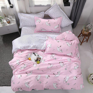 New Cartoon Cat Bedding Set Cotton Kawaii Comforter Bedding Sets For Women Girl King Twin Queen Size Bed Sheets And Pillowcases
