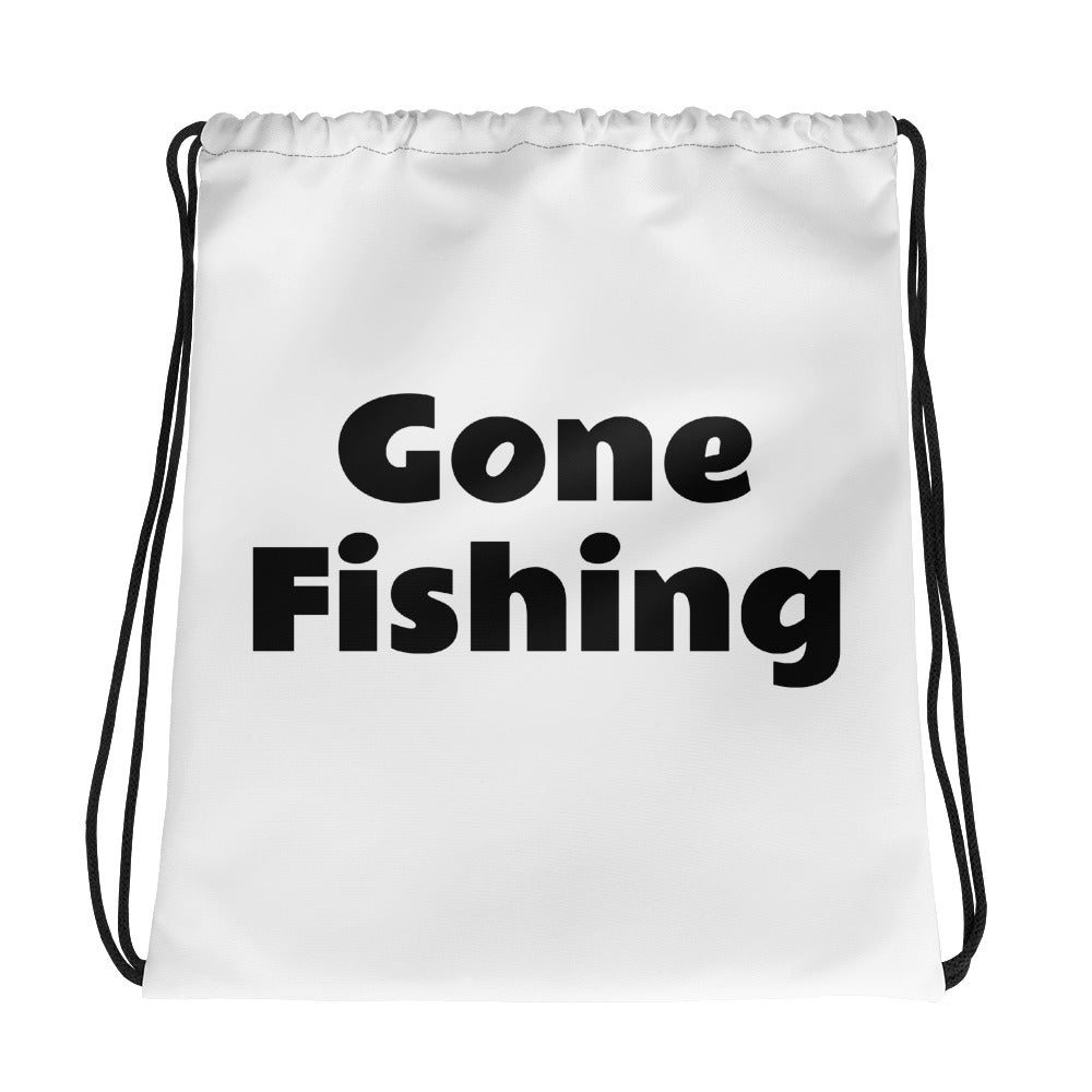 Gone fishing Drawstring bag