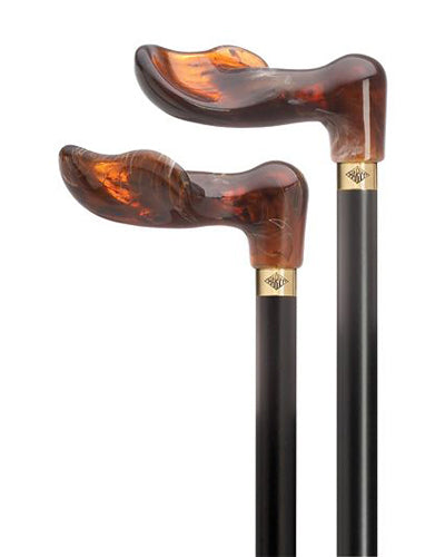 Amber Acrylic Palm Grip Cane on Black Shaft