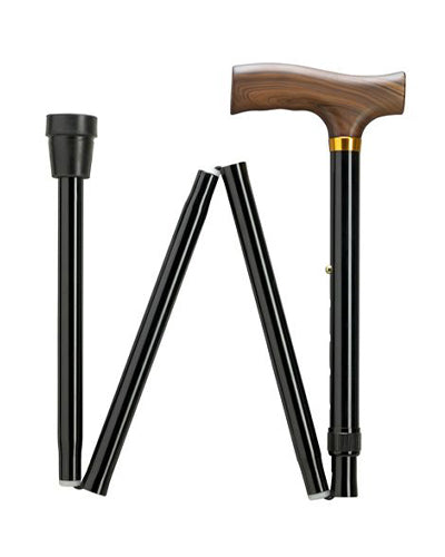 Extra Tall Folding Cane with Wood Fritz Handle