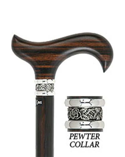 Premium Ebony Derby Walking Cane With Ebony Wood Shaft and Pewter Collar