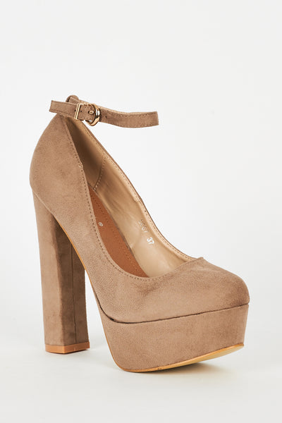 Faux Suede Block Heel Platform Shoes