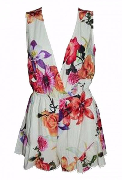 Floral Print Wrap Front Sleeveless Romper Playsuit - XANA's Boutique  - 4