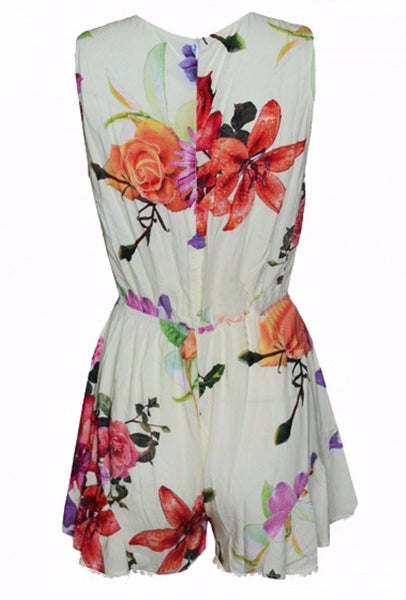 Floral Print Wrap Front Sleeveless Romper Playsuit - XANA's Boutique  - 3