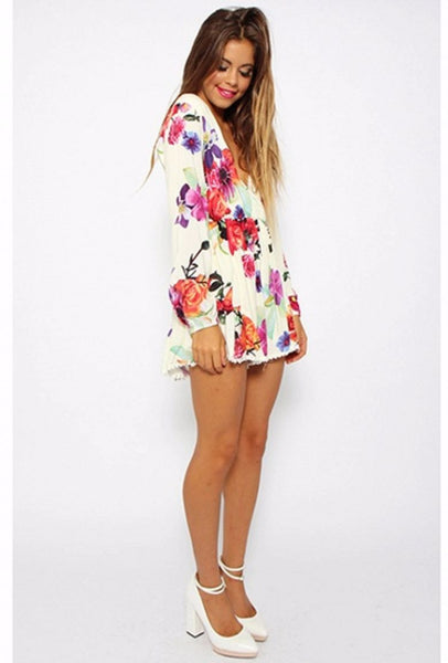 Floral Print Long Sleeve Romper Playsuit - XANA's Boutique  - 3