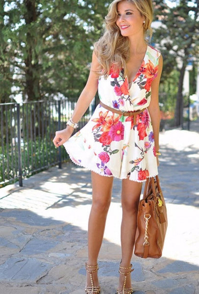 Floral Print Wrap Front Sleeveless Romper Playsuit - Clothing - XANA's Boutique