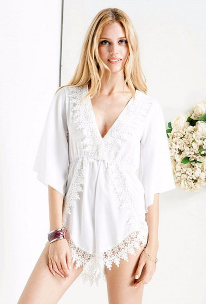 Plunge Lace Embellished Romper Playsuit White - XANA's Boutique  - 4