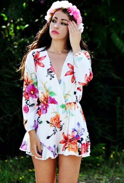 Floral Print Long Sleeve Romper Playsuit - Clothing - XANA's Boutique