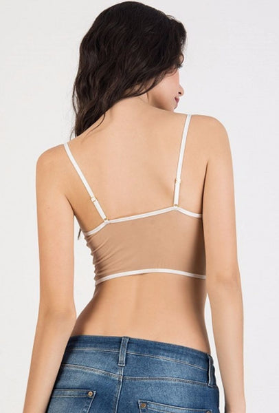 Sheer Eyelash Lace Spaghetti Strap Crop Cami - XANA's Boutique  - 2
