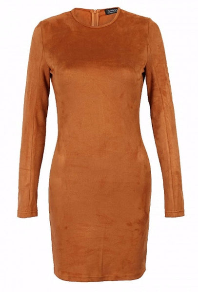 Faux Suede Mini Bodycon Dress - Clothing - XANA's Boutique