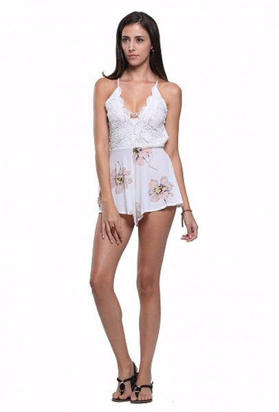 Plunge Floral Lace Top Playsuit - XANA's Boutique  - 1