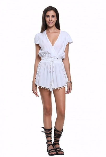 Deep V Tie Waist Short Sleeve Pom Poms Romper Playsuit - XANA's Boutique  - 1