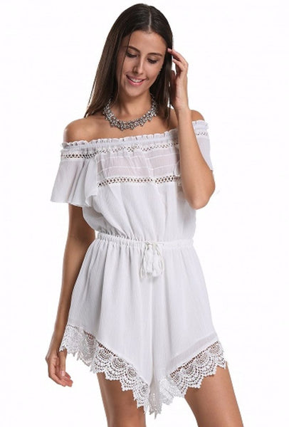 Off The Shoulder Crochet Romper - XANA's Boutique  - 1
