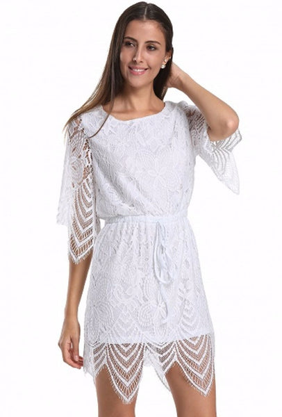 Half Sleeve Tied Waist Open Back Lace Romper Playsuit