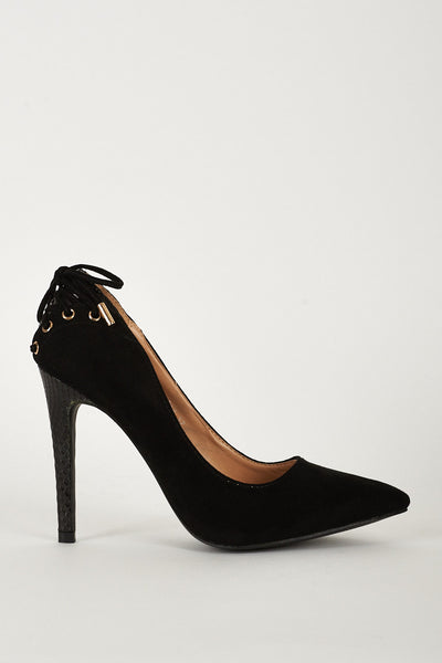 High Heel Lace Detail Court Shoes