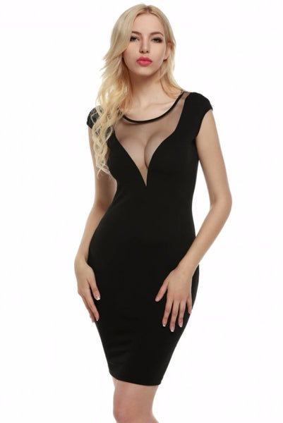 Mesh Patchwork Bodycon Pencil Dress