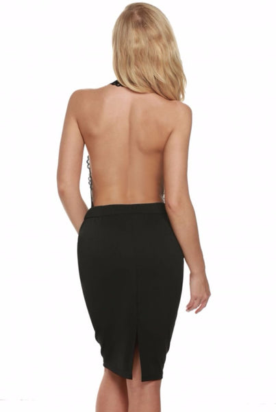 Lace Halter Neck Backless Bodycon Dress - XANA's Boutique  - 2